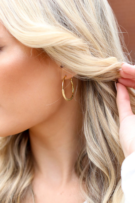 Gold - Textured Gold Hoop Earrings from Dress Up