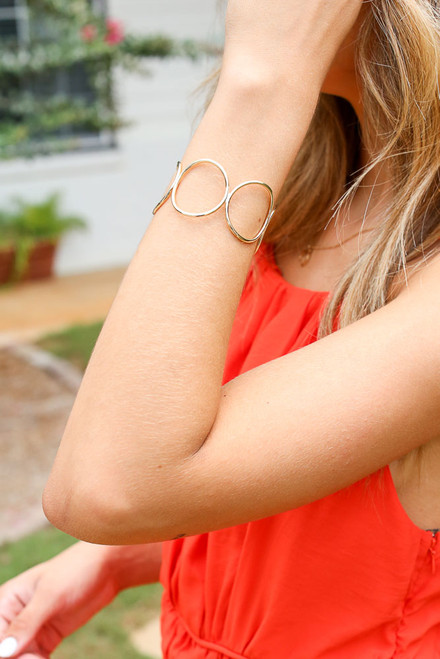 Gold - Circle Cuff Bracelet from Dress Up