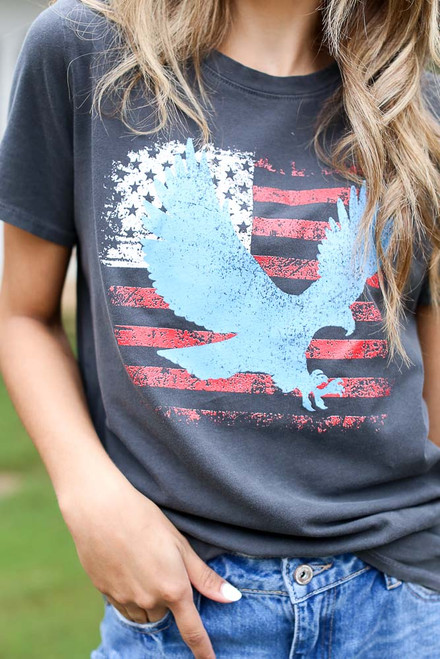 Charcoal - Land of the Free Graphic Tee from Dress Up