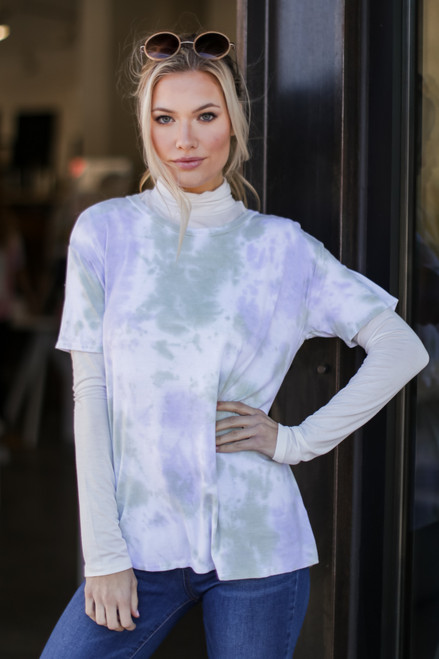 Mint - Model wearing an Ultra Soft Tie-Dye Tee