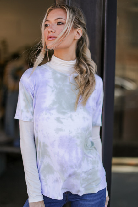 Mint - Dress Up model wearing an Ultra Soft Tie-Dye Tee