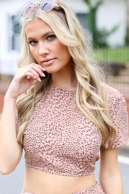 Blush - Spotted Open Back Crop Top
