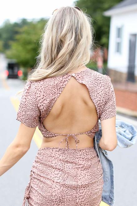 Blush - Spotted Open Back Crop Top Back View