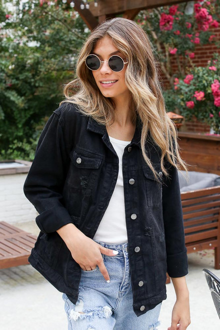 Black - Distressed Denim Jacket