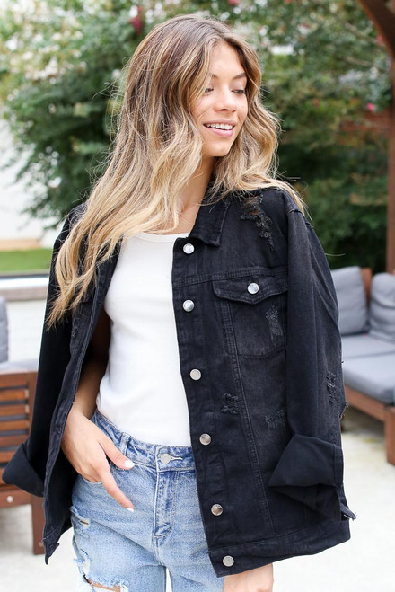 Black - Distressed Denim Jacket from Dress Up