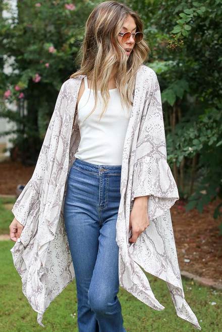 Taupe - Ruffled Snakeskin Kimono from Dress Up