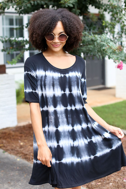 Black - Tie-Dye Swing Dress