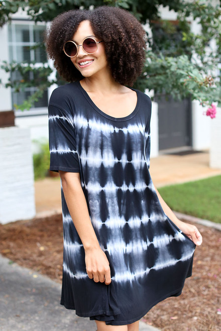 Black - Tie-Dye Swing Dress from Dress Up