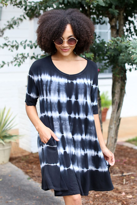 Black - Model wearing a Tie-Dye Swing Dress
