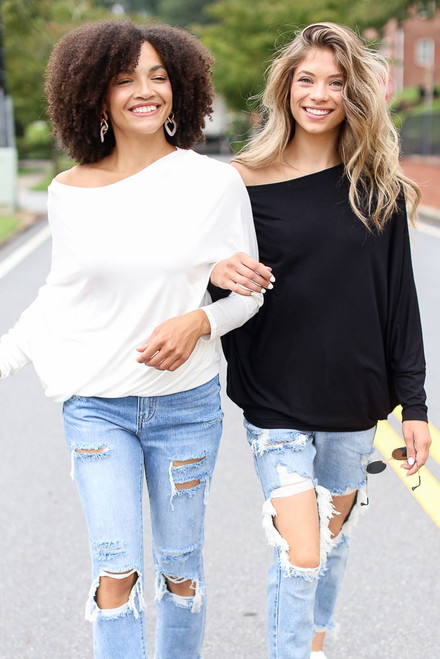 Black - Oversized Asymmetrical Top