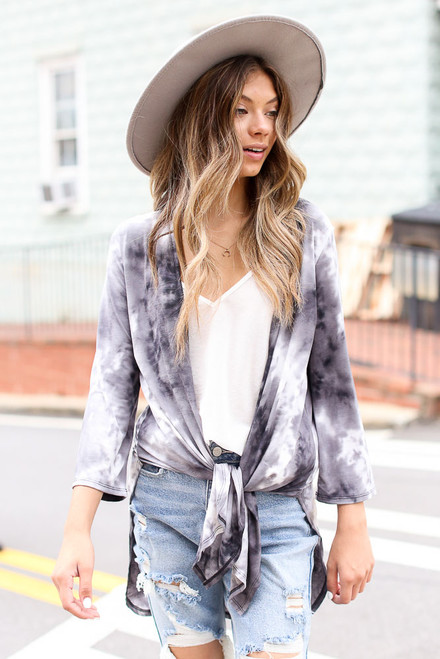 Charcoal - Tie-Dye Kimono from Dress Up