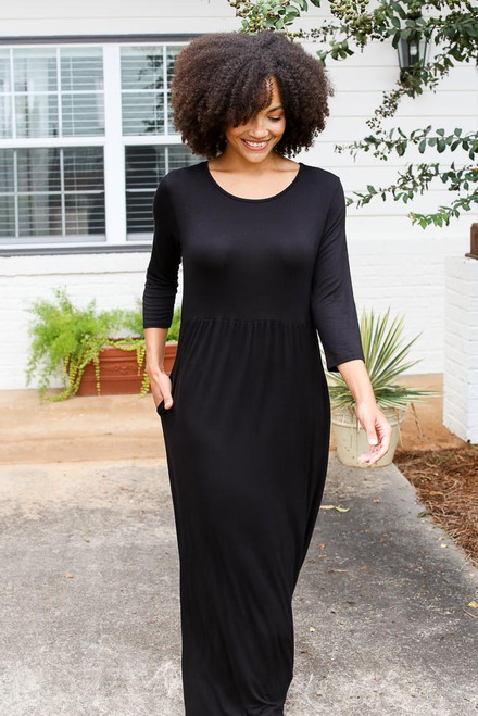 Black - Babydoll Maxi Dress