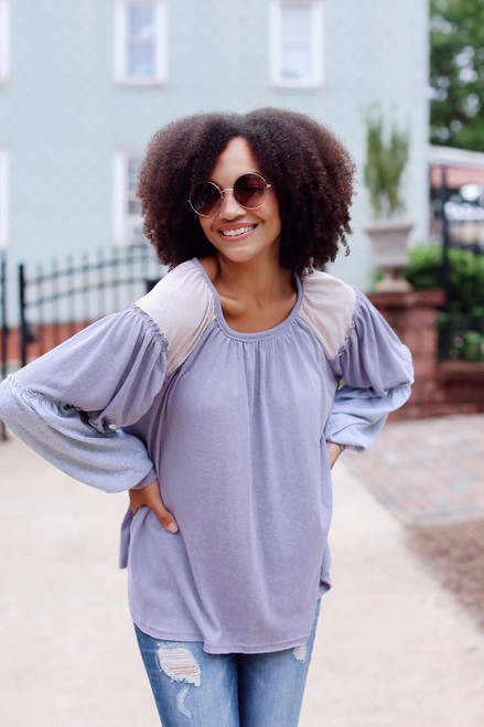 Lilac - Oversized Color Block Top from Dress Up