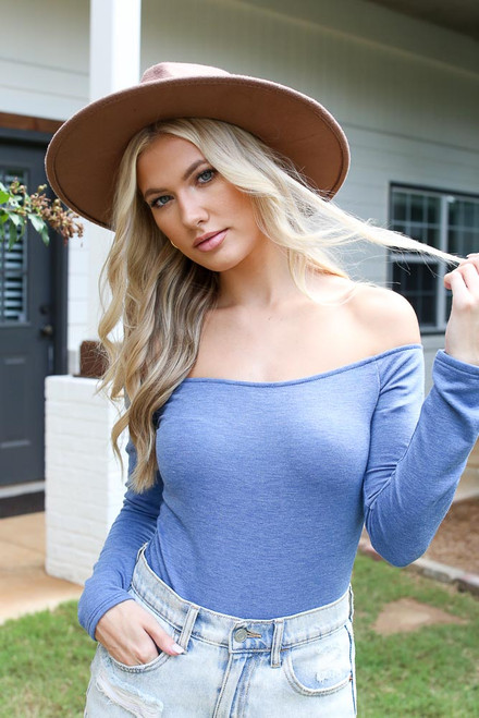 Blue - Off-the-Shoulder Bodysuit