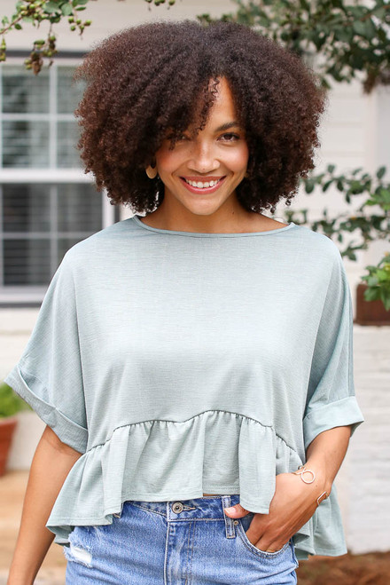 Olive - Ruffled Oversized Top
