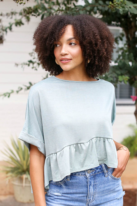 Olive - Ruffled Oversized Top from Dress Up