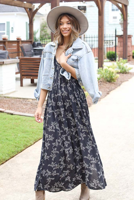 Navy - Floral Maxi Dress from Dress Up