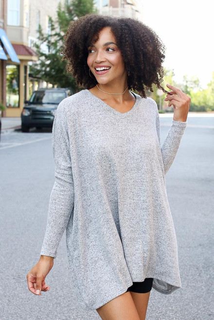 Heather Grey - Oversized Brushed Knit Top