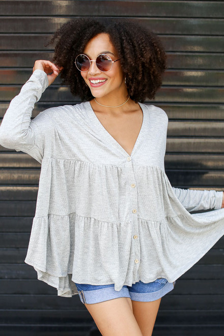 Grey - Tiered Babydoll Top