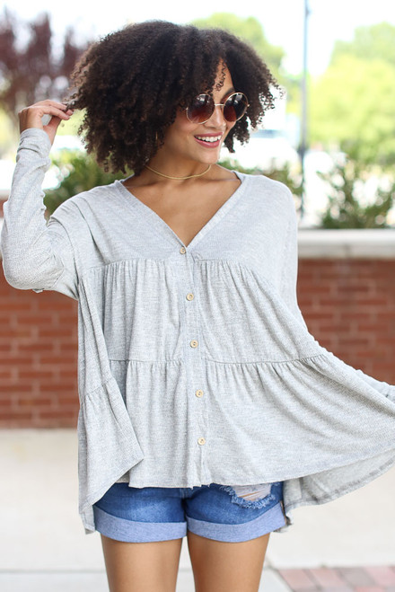 Grey - Tiered Babydoll Top from Dress Up