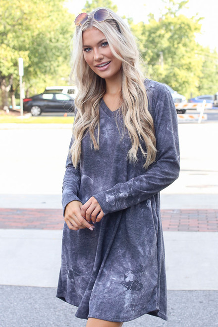 Charcoal - Tie-Dye Swing Dress