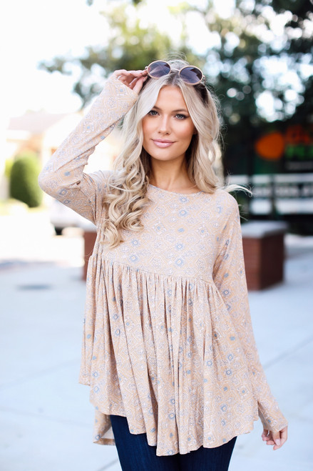 Taupe - Ribbed Babydoll Top