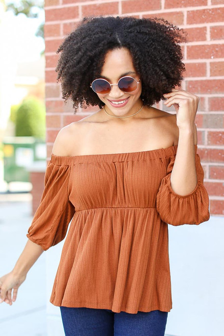 Camel - Model wearing a Textured Off-the-Shoulder Top
