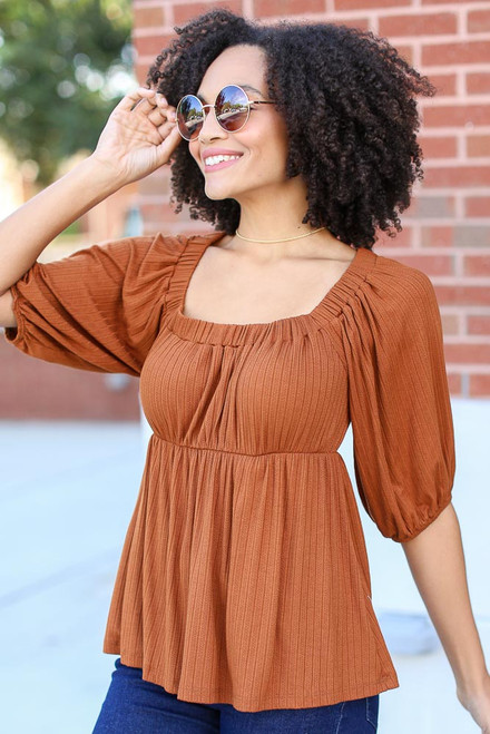 Camel - Dress Up model wearing a Textured Off-the-Shoulder Top