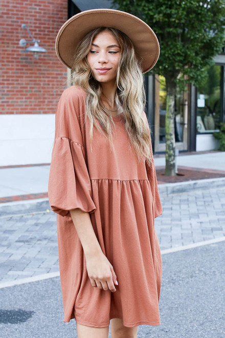 Rust - Puff Sleeve Babydoll Dress