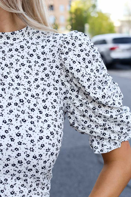 Ivory - Floral Puff Sleeve Top from Dress Up