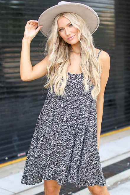 Black - Tiered Floral Dress