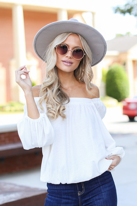 White - Dress Up model wearing a Square Neck Top