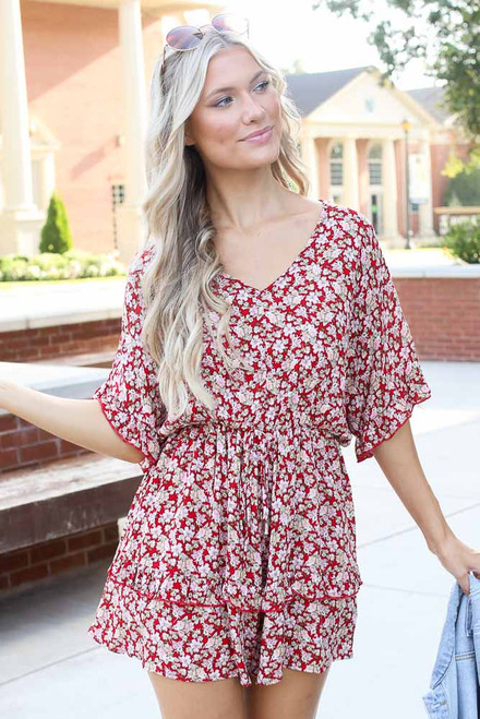 Red - Floral Romper from Dress Up