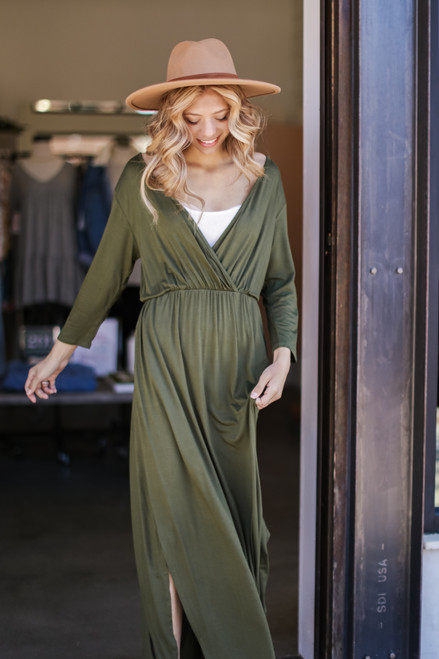 Olive - Surplice Maxi Dress