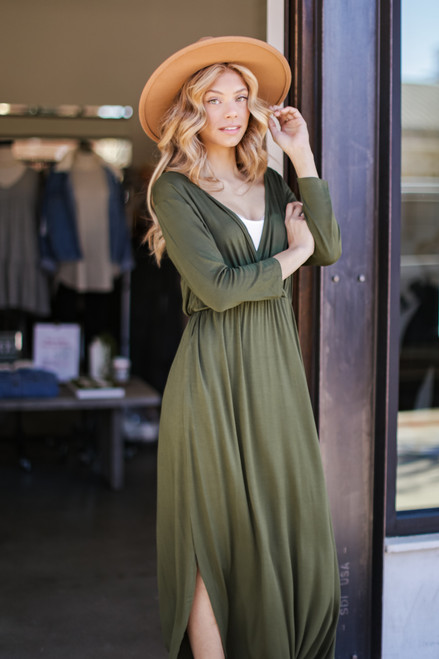 Olive - Surplice Maxi Dress from Dress Up