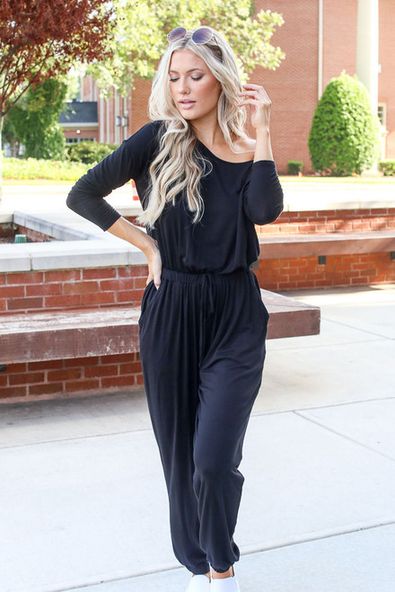 Black - Jersey Knit Jumpsuit