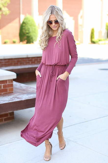 Marsala - Jersey Knit Maxi Dress