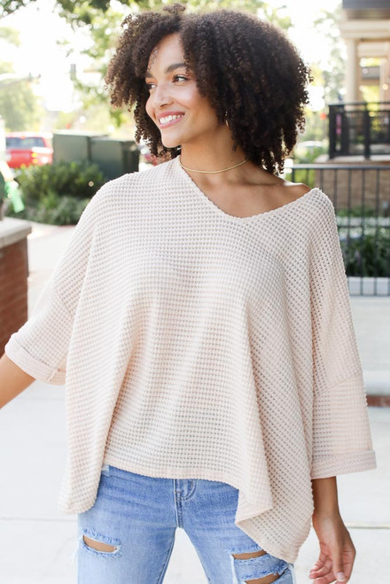 Natural - Oversized Waffle Knit Top from Dress Up
