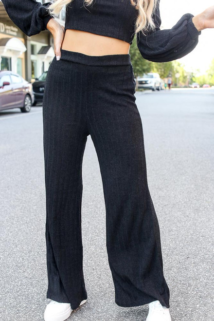 Black - Ribbed Knit Wide Leg Pants