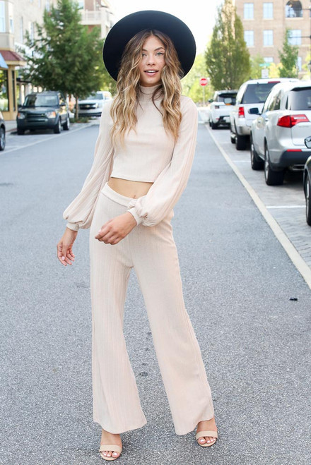 Taupe - Model wearing Ribbed Knit Wide Leg Pants