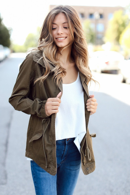 Olive - Front view of Utility Jacket