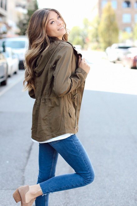 Olive - Side view of Utility Jacket