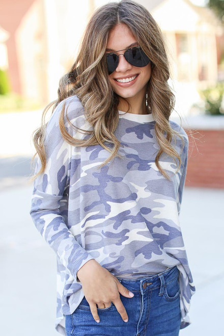 Grey - Oversized Camo Top