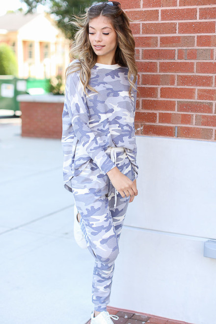 Grey - Oversized Camo Top from Dress Up