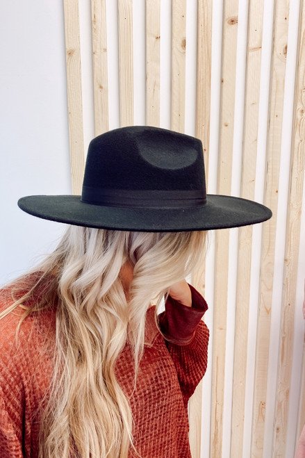 Black - Wide Brim Fedora Hat from Dress Up