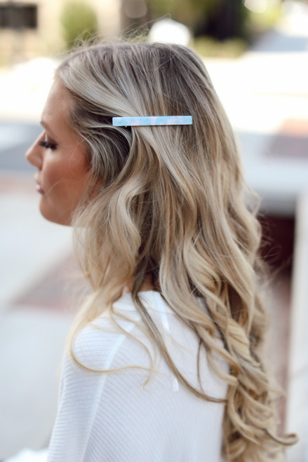 Light Blue - Model wearing an Acrylic Hair Clip