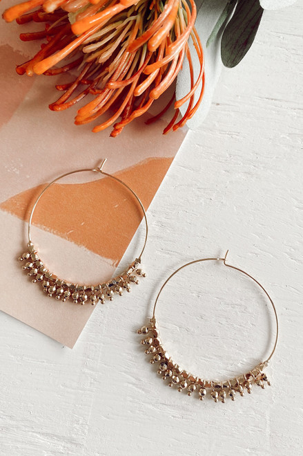 Gold - Beaded Hoop Earrings