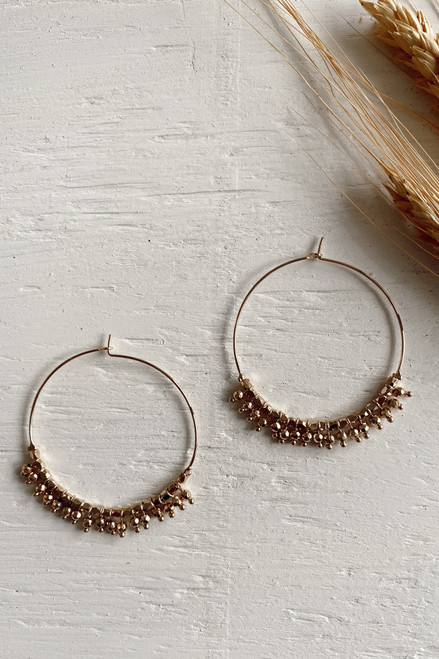 Gold - Beaded Hoop Earrings from Dress Up