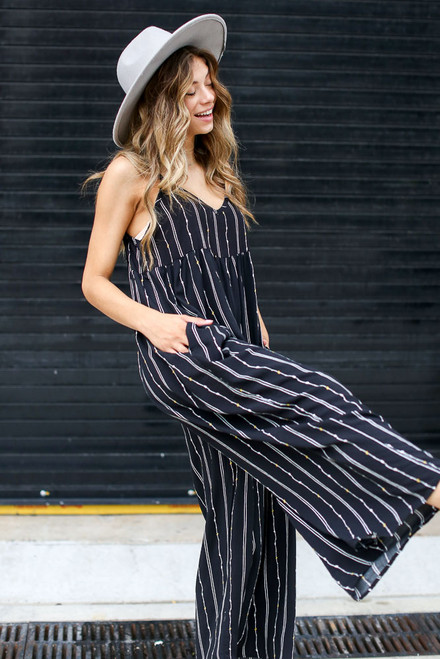 Black - Striped Jumpsuit