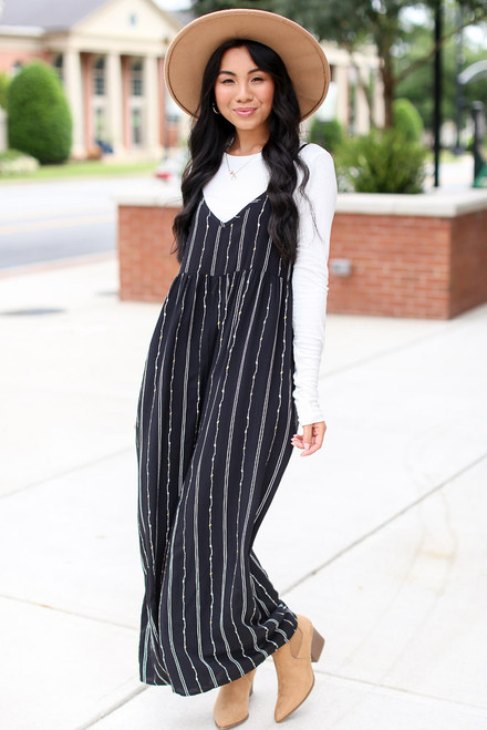 Black - Striped Jumpsuit from Dress Up